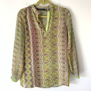 KAS New York Anthropologie Green Sheer Blouse S